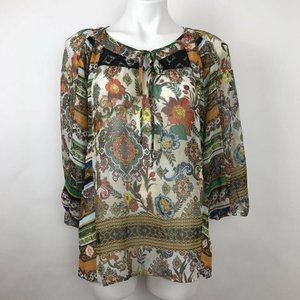 Fig And Flower Tunic Top Boho Floral Sheer Sz M